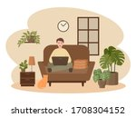 male freelancer is working on a ... | Shutterstock .eps vector #1708304152