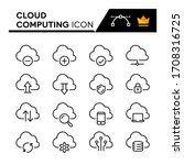 Cloud Computing Line Icons Set. ...