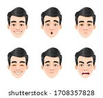 face expressions of handsome...   Shutterstock .eps vector #1708357828