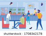 cartoon people eating fastfood... | Shutterstock .eps vector #1708362178