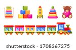 kid's toys set. collection for... | Shutterstock .eps vector #1708367275