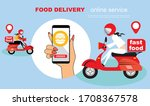 fastfood delivery by scooter on ... | Shutterstock .eps vector #1708367578