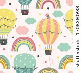 seamless pattern with hot air... | Shutterstock .eps vector #1708380988