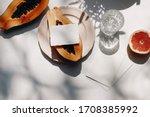 summer stationery still life... | Shutterstock . vector #1708385992