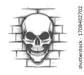 hand drawn smiling skull on a... | Shutterstock .eps vector #1708402702