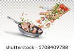 chicken  mushrooms  green... | Shutterstock .eps vector #1708409788