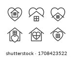 stay home icons set with heart... | Shutterstock .eps vector #1708423522