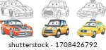 coloring pages. cartoon cars... | Shutterstock .eps vector #1708426792