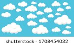 set of clouds on blue... | Shutterstock .eps vector #1708454032