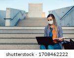 Student Woman Sitting On Empty...