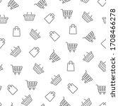shopping seamless pattern. line ... | Shutterstock .eps vector #1708466278