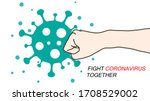 clenched fist fighting to virus ... | Shutterstock .eps vector #1708529002