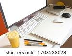 minimalist workspace   working... | Shutterstock . vector #1708533028