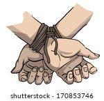 tied up hands  vector...
