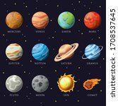 Cartoon solar system planets. Astronomical observatory small planet pluto, venus mercury neptune uranus meteor crater and star universe astronaut sign. Astronomy galaxy space vector isolated icons set