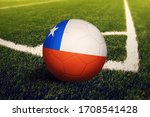 Chile Flag On Ball At Corner...
