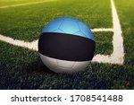 Estonia Flag On Ball At Corner...