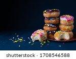 Sprinkled Mini Donuts Stacked...