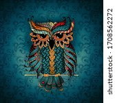 Owl In Blue And Orange Colors....