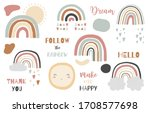 doodle rainbow object set with... | Shutterstock .eps vector #1708577698
