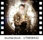 movie poster concept of a man... | Shutterstock . vector #170858432