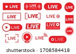 live stream icon set. red signs ... | Shutterstock .eps vector #1708584418