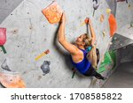 Rock Climber Woman Hanging On A ...