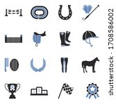 Horse Icons. Two Tone Flat...