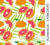 red fresh grapefruit pattern... | Shutterstock .eps vector #1708614295
