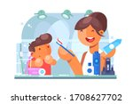 child brushing teeth with... | Shutterstock .eps vector #1708627702