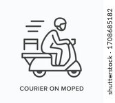 courier on moped line icon.... | Shutterstock .eps vector #1708685182