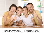 happy family drawing at the... | Shutterstock . vector #170868542