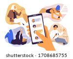 concept of sharing news  refer... | Shutterstock .eps vector #1708685755