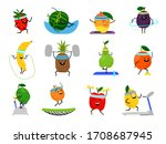 sport fruits characters. funny... | Shutterstock . vector #1708687945