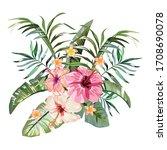 isolated vector bouquet of... | Shutterstock .eps vector #1708690078