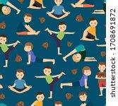 cute boys yoga training pattern.... | Shutterstock . vector #1708691872
