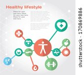 healthy lifestyle background... | Shutterstock .eps vector #170869886