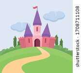 pink castle on the green hill.... | Shutterstock .eps vector #1708711108