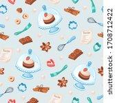 baking utensils background.... | Shutterstock .eps vector #1708712422