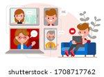 relaxed man sitting on sofa ...   Shutterstock .eps vector #1708717762