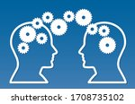 two people exchange ideas and... | Shutterstock .eps vector #1708735102