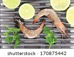 fresh shrimps on a grill. whole ... | Shutterstock . vector #170875442