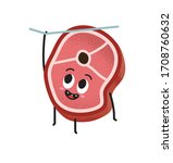 cute slice of meat hanging on a ... | Shutterstock .eps vector #1708760632