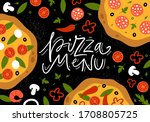 pizza with fresh ingredients ...   Shutterstock .eps vector #1708805725