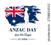 anzac banner  silhouette of... | Shutterstock .eps vector #1708814512