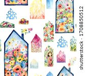 seamless pattern with houses.... | Shutterstock . vector #1708850512