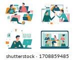 remote working concept set.... | Shutterstock .eps vector #1708859485