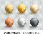 metal balls gold silver bronze... | Shutterstock .eps vector #1708898518