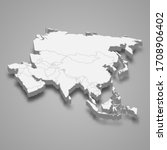 3d map of asia with borders | Shutterstock .eps vector #1708906402