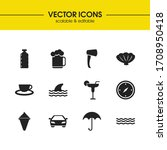summer icons set with beer ...